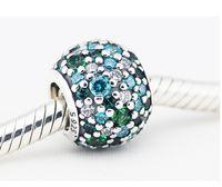cheap pandora bracelet beads - Cheap Fit Pandora Bracelets charm authentic Sterling Silver Ocean Mosaic Charm Bead w Green Pave Ball Cz Jewelry Bracelets Necklaces