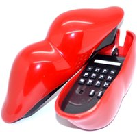 analog corded telephone - Sexy analog Hot Red Lip Home Desk Plastic Wired Telephone phone