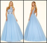 bahama dresses - Tulle Ball Gown Prom Pageant Dresses Jewel Neckline Sleeveless KR Formal Evening Gowns Beaded Bahama Blue Zipper Back Party Dress