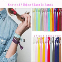 Wholesale 50 Colors Option New Knotted Ribbon Hair Tie Ponytail Holders Stretchy Elastic Headbands Kids Women Hair Accessory