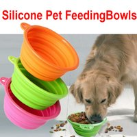 Wholesale DHL Factory Pet Dog bowl Floding Silicone Frisbee Collapsible Feeding Water Feeder Travel Bowl Dish Cats bowl Dog Supplies Colors