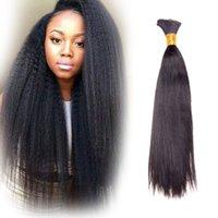 Wholesale Golden Perfect Yaki Hair Bulk Hair Afro Hair Russian Hair Bulk Hair A Quality Best Hair Extension Bundle Only In B Color