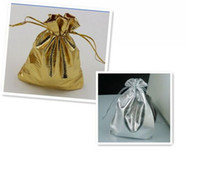 organza bags wholesale - Hot Gold Or Silver Foil Organza Wedding Favor Gift Bag Pouch Jewelry Package x7cm x9cm x12cm x16cm x18cm