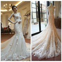 Wholesale Sexy Blush Pink Illusion Wedding Dresses Real Photo Mermaid Style Wedding Gown Long Sleeves D Floral Appliques Custom Garden Bridal Dress
