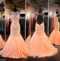 backless dress shop - Peach Beaded Mermaid Prom Dresses Online Shop Open Back Sweep Train Plus Size Women Pageant Party Gowns