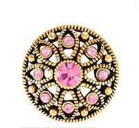 Wholesale 20MM gold mae flower with pink stones snap buttons for snap bracelets