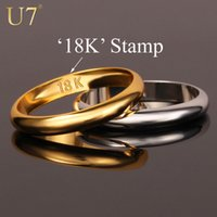 Wholesale Gold Rings With quot K quot Stamp Quality Real Gold Plated Women Men Jewelry Classic Wedding Band