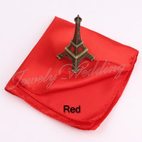 Wholesale wholease pieces RED Satin Square Handkerchief and Satin Napkin for dinner and Wedding Party Prom Ornaments