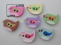 al por mayor botones de álbum de recortes de bebé-WBNLSO precioso bebé botones de costura suministros 200pcs forma del pájaro botón de madera de scrapbooking 2 agujeros Decoratived