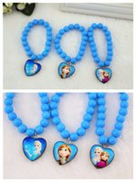 Wholesale Frozen Children s Accessories Glass Beads Blue Dreamy Bracelet Heart Princess Pendant Lolita Style Kids Jewelry Girls All match Chain