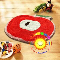 latch hook cushion kit - DIY Mat Needlework Kit Latch Hook Rug Kit Unfinished Crocheting Rug Yarn Cushion Embroidery Carpet Apple Picture