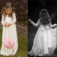white lace skirt - 2015 Lace Long Sleeve White Girl Flower Dresses Bow A line Floor Length Baby Formal Occasion First Communion Party Prom Skirt Cheap