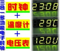 basics a types - Triple LED digital electronic clock electronic clock time temperature voltage type A basic version