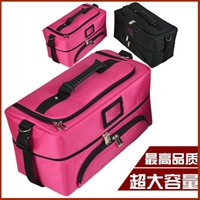 Wholesale Professional fabric Large cosmetics double layer cosmetic bag large capacity portable