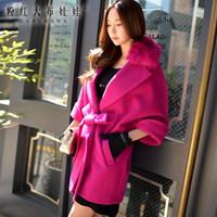 Wholesale Dabuwawa Women Sweet Lapel Neck Batwing Sleeve Fur Collar Amaranth Wool Coat with Belt