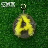 Wholesale CMK New Arrival Multicolors Furball Chain with Letter A Z Real Bunny Fur Keychain Charms for Bags Christmas Gift