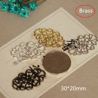 Wholesale 30 Oval Filigree Flowers Connectors mm Good Quality Ornate Lacey Raw Brass Filigree Connectors Links