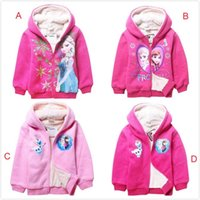 tweed jacket - EMS DHL Fast Elsa Anna Autum Winter Thicken Warm Fleece Hoodied Tweed Jacket For Big Children Coats Styles J2862