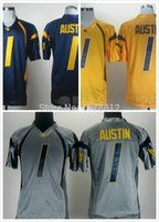 austin grey - Factory Outlet NCAA West Virginia Mountaineers Tavon Austin Jersey Blue Gold Grey Stitched Colleage Football Jersey Free Shipp