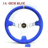 Wholesale 14 quot MM Red Car styling Steering Wheel yarn mill leather Steering Wheel Steering Wheel Deep Corn Dish
