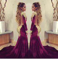 Wholesale Celebrities Black Dress Red Carpet - 2016 Stunning burgundy velvet Mermaid Celebrity Red Carpet dresses with golden shiny sequins applique high neck backless evening prom gowns