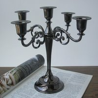 black candelabra - classic light black alloy metal candlesticks candle holder gift party gift home decoration