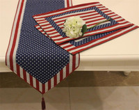 Wholesale Set of Table Runner and Placemats The American Flag Pattern Soft Boutique Art Jacquard Design Decoration Mat Table Cloth Cup Mat