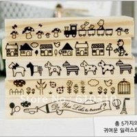 animal house horse - New sweet Korea Wood stamp Set Cartoon style Animal flower house horse DIY long style stamp