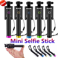 Wholesale Extendable Handheld Monopod Selfie Stick Pocket Luxury Wired Shutter Smart Integrated Selfie Monopod for iPhone S S Samsung S6 S5 HTC
