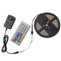 led tape light - 3014 SMD RGB LED Strip M Led m Waterproof DC V LED Fiexble Light Led Ribbon Tape Lamp Key IR Controller A Power Adapter