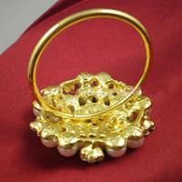 Wholesale flower shape pearl gold ring napkin holder