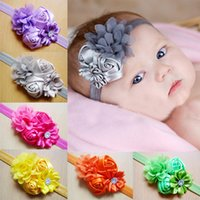 accesories for babies - newborn baby headbands four flowers boutique headbands for baby girls Mix colors Children hair accessories baby accesories rose headbands