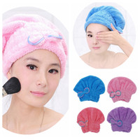 Wholesale Magic Hair Drying Turban Wrap Hat Caps Microfiber Bath Bathing Quick Dry Towel Makeup Cosmetics Cap