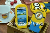 Cheap 100pcs lot 3D Cute Despicable Me 2 Minions Silicon Soft Case Back Cover For Samsung Galaxy S3 mini I8190 by free DHL&Fedex