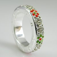 Wholesale New design silver ring with flower in colorful Cz Classic Crystal Finger ring for women as gift Fashion ring jewelry