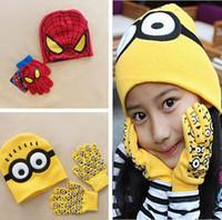 garden gloves - Minions caps and glove spider man cartoon winter knitted kid girls boy hats gloves children christmas gift gorras casquette