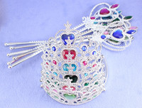 plastic tiaras - 9 Colors Tiara Crown and Magic Wand Kit for Children Girls Cosplay Fairy Princess Crystal Silver Children Toys