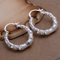 bamboo hoop earings - Hollow Bamboo Style Hoop earings Pure silver Prata Princo e139 Fashion New Jewelry