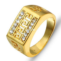 Wholesale 2014 K Best Gift Gold Plated Men Jewelry Rings RI100244 Party Jewelry Cubic Zirconia man Rings