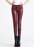 Wholesale Women han edition counters authentic new winter leisure fashion show thin waist to keep warm in the tight leather pants pencil S xl