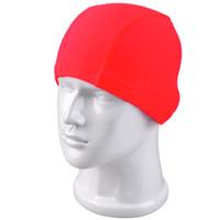 swimming cap - Wholesales New Brand Men Women swimming caps high elastic fabric fashion solid color nylon swim cap Rose Red Navy Black UL0005