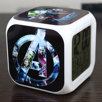 Wholesale New Movie Peripheral Captain America Design LED Colors Change Automatically Digital Alarm Clock Thermometer Glowing Toys