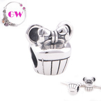Loose Beads cupcake charm - cupcake silver charms minnie mouse Family Friends silver charms fit European bracelets No90 T019