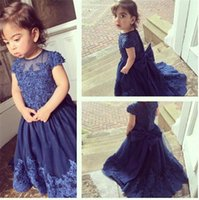 Wholesale 2016 Royal Blue Flower Girls Pageant Dresses Jewel Neck Sheer Beads Appliques Court Train Big Bowknot Kids Pageant Party Gowns Dresses