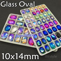 Wholesale 48pcs x14mm Oval Shape Glass Crystal Fancy Stone Amethyst Pink Violet Citrine Olivine AB More Colors For Jewelry