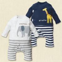 Barboteuses Bébés garçons animaux Elephant Girafe Grenouillères Blanc Marine coton à manches longues Romper Cartoon Vêtements bébé à Spring TZX160