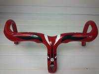 Wholesale carbon road handlebar red glossy and Stem integrative bicycle handlebar bent handlebar bicycle parts