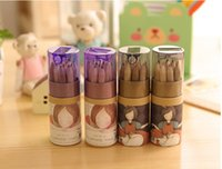 Wholesale 12pcs In One Lovely Wooden Children Drawing Writing Colored Pencils Set Child Kids Painting Stationery Kit with Sharpener Gift Box