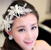 beaded hair ties - stock beaded pearl leaf white wedding tiaras hair sticks with bow tie bridal crowns headbands for wedding cheap