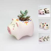 Wholesale Flower pot cartoon ceramic flowerpot gardening succulents lovely vase styles optional